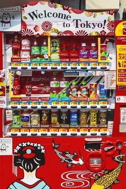 TPX70326 Japan, Honshu, Tokyo, Asakusa, Colourful Drink Vending Machine