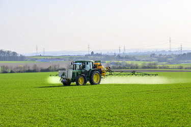 IBXTKE04879193 Tractor sprayes weedkiller on cereal field, Baden-Wurttemberg, Germany, Europe