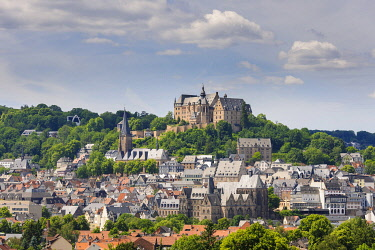 IBXTKE04891291 City view, landgrave castle with university museum and parish church St Marien, old town, Marburg, Hesse, Germany, Europe