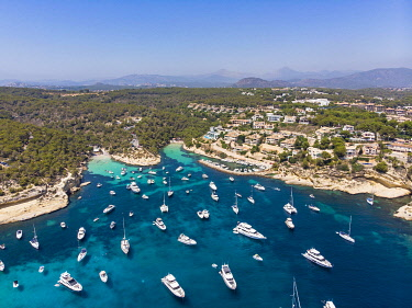 IBXMOX04891370 Aerial view, view over the Three Finger Bay of Portals Vells, Majorca, Balearic Islands, Spain, Europe