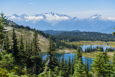 IBXMMW04824567 Small lakes in front of snow-capped mountains, Garibaldi Provincial Park, British Columbia, Canada, North America