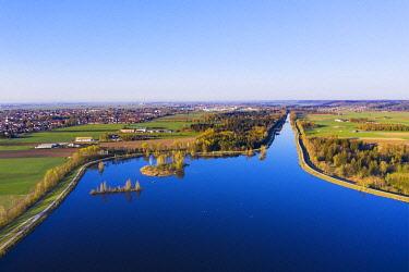 IBXMAN04890861 Bobingen reservoir, Wertach reservoir, Bobingen, near Augsburg, drone shot, Swabia, Bavaria, Germany, Europe