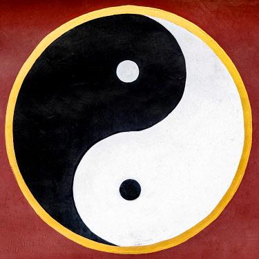 IBXKIP04879142 Yin and yang symbol, Thousand Buddha Mountain, Jinan, Shandong province, China, Asia