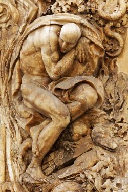 IBXKAS04887344 Mythological figure on the portal, rococo-style palace, Palau del Marqués de Dosaigües, Ciutat Vella, old town, Valencia, Spain, Europe