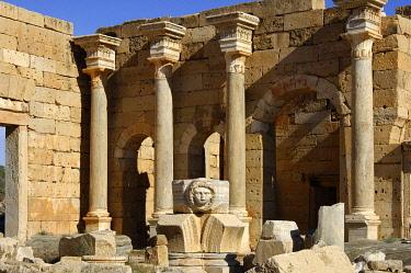 IBXGUF00053923 Columns and head of a Medusa Severus Forum Leptis Magna Libya