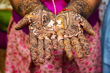 IBXDGB04821653 Close up of mehendi on bride's hand, Mauritius, Africa