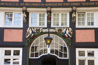IBXDWH04266212 Entrance, facade, Walhalla, half-timbered house, historic centre, Osnabrück, Lower Saxony, Germany, Europe