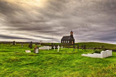 IBXANT04801849 Cemetery, Hvalsneskirkja, church of Hvalsnes, SandgerÃÂ�i, Sandgerdi, SuÃÂ�urnes, Sudurnes, peninsula Reykjanes, near Reykjavik, Iceland, Europe