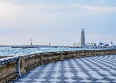 ITA14170AW View over Terrazza Mascagni towards Fanale dei pisani Lighthouse, Livorno, Tuscany, Italy