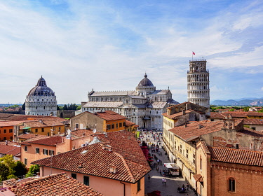 ITA14194AW View over Via Santa Maria towards Cathedral and Leaning Tower, Pisa, Tuscany, Italy
