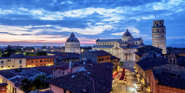 ITA14209AW View over Via Santa Maria towards Cathedral and Leaning Tower at dusk, Pisa, Tuscany, Italy