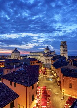 ITA14211AW View over Via Santa Maria towards Cathedral and Leaning Tower at dusk, Pisa, Tuscany, Italy