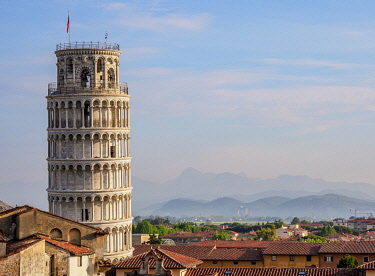 ITA14217AW Leaning Tower, elevated view, Pisa, Tuscany, Italy