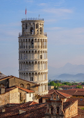 ITA14218AW Leaning Tower, elevated view, Pisa, Tuscany, Italy