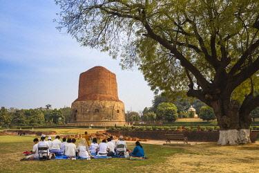 IN08484 India, Uttar Pradesh, Sarnarth, near Varanasi, Dhamekh Stupa and ruins complex, The Stupa marks the spot where Bhuddha preached his first sermon