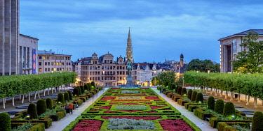 BEL1896AWRF View over Mont des Arts Public Garden towards Town Hall Spire at dusk, Brussels, Belgium