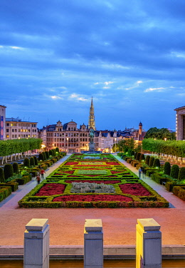 BEL1902AWRF View over Mont des Arts Public Garden towards Town Hall Spire at dusk, Brussels, Belgium