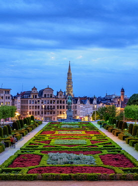 BEL1911AWRF View over Mont des Arts Public Garden towards Town Hall Spire at dusk, Brussels, Belgium