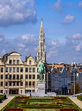 BEL1914AWRF View over Mont des Arts Public Garden towards Town Hall Spire, Brussels, Belgium