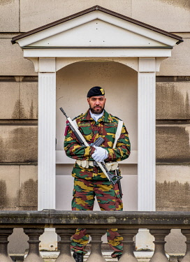 BEL1883AW Guard at the Royal Palace of Brussels, Belgium