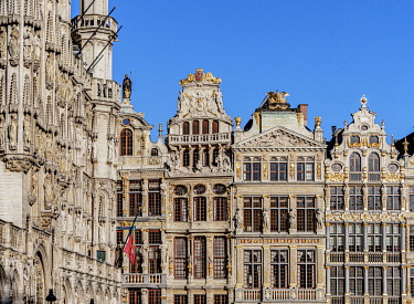 BEL1885AW Houses at Grand Place, UNESCO World Heritage Site, Brussels, Belgium