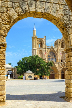 CYP0057AWRF Lala Mustafa Pasha Mosque, originally known as the Cathedral of Saint Nicholas, Famagusta (Gazimagusa), Cyprus (Northern Cyprus).