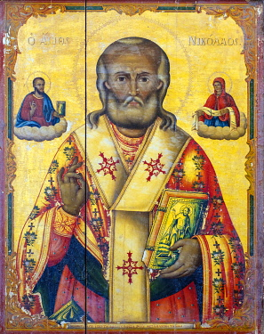 CYP0058AWRF Portrait of Saint Nicholas (1807) at St Barnabas Monastery and Icon Museum, Tuzla, Famagusta (Gazimagusa),Cyprus (Northern Cyprus).