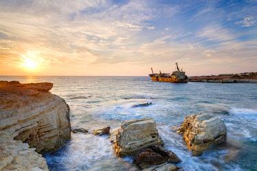 CYP0070AWRF The Edro III Shipwreck at sunset, near Peyia (Pegeia), Paphos District, Cyprus