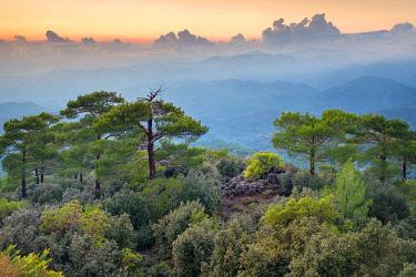 CYP0072AWRF Troödos mountains landscape at sunset, Pano Platres, Limassol District, Cyprus