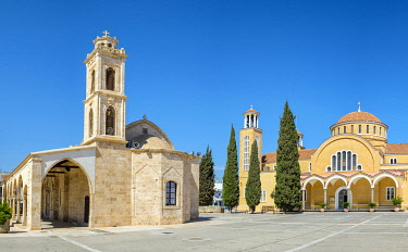 CYP0087AW Agios Georgios, old (left) and new (right) Church of Saint George on the main square, Paralimni, Famagusta District, Cyprus.