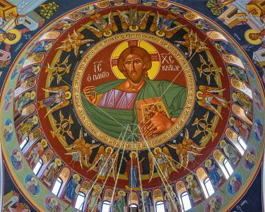 CYP0089AW Agios Georgios, new Church of Saint George interior cupola, Paralimni, Famagusta District, Cyprus.