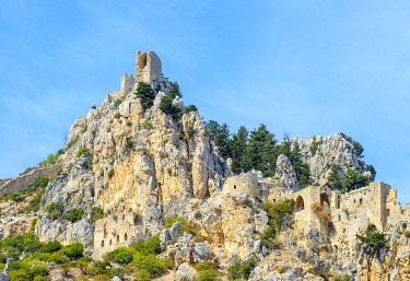 CYP0134AW Saint Hilarion Castle, a ruined Byzantine castle in the Kyrienia Mountain Range near Kyrenia (Girne), Kyrenia (Girne) District, Cyprus (Northern Cyprus).