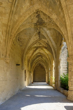 Cloister of Bellapais Abbey, ruins of a monastery built by Canons Regular in the 13th century, Beylerbeyi, Kyrenia (Girne) District, Cyprus (Northern Cyprus).
