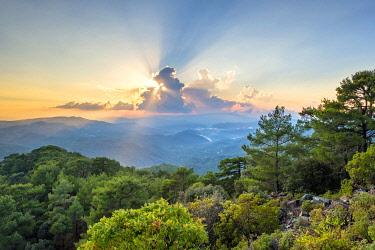CYP0155AW Troödos mountain range at sunset, Pano Platres, Limassol District, Cyprus