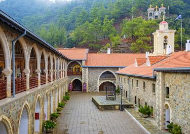 CYP0161AW Inner courtyard of Kykkos Monastery in the Troödos Mountains, Mylikouri, Nicosia District, Cyprus
