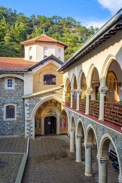 CYP0163AW Inner courtyard of Kykkos Monastery in the Troödos Mountains, Mylikouri, Nicosia District, Cyprus