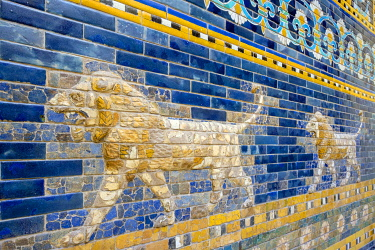 GER11851AW Mesopotamian lions depicted on the reconstruction of the Ishtar Gate at the Pergamon Museum, Museumsinsel (Museum Island), Berlin-Mitte, Berlin, Germany.