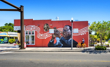 US11986 USA, Florida, Saint Petersburg, Louis Armstrong Wall Mural, Jazz Great, African-American Heritage Trail, The Deuces Neighborhood