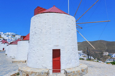 GRE1739AW Traditional windmill, Astypalea, Dodecanese Islands, Greece