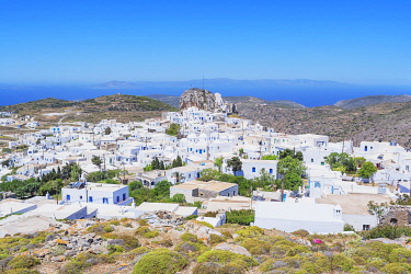GRE1742AW High angle view of Chora, Amorgos, Cyclades Islands, Greece
