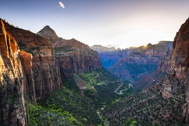 USA14605AWRF Road to Canyon overlook Zion National Park, Utah, USA
