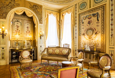 FRA11548 France. French Riviera. St Jean Cap Ferrat. The majestic Villa Ephrussi de Rothschild interior.