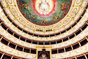 ITA14530 Italy. Emilia Romagna. Parma. Interior of the Parma Opera Theatre.