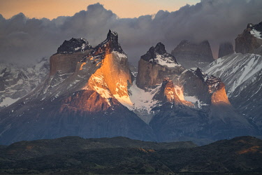 CLKFV106658 Paine Horns at dawn. Torres del Paine National Park, Ultima Esperanza province, Magallanes region, Chile.
