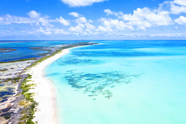 CLKRM111019 Aerial view of Pink Sand Beach washed by the turquoise sea, Barbuda, Antigua and Barbuda, Caribbean, Leeward Islands, West Indies