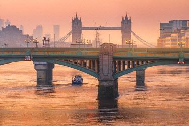 CLKRM112609 Sunrise over Southwark Bridge and London Bridge along River Thames, London, United Kingdom