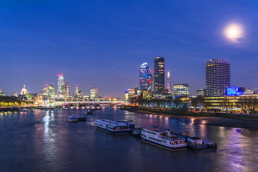 CLKRM112615 Full moon over St Paul's Cathedral, Blackfriars Bridge and financial district, London, United Kingdom