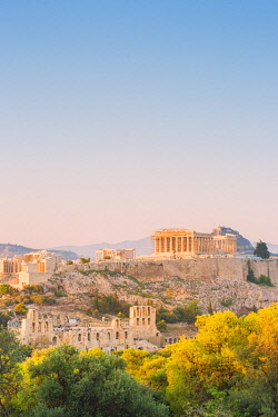 CLKGA107159 Upper view of the Acropolis from Philopappos hill at sunset, Athens, Attica region, Greece, Europe