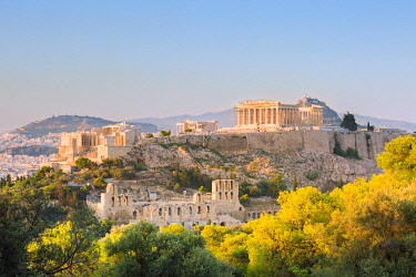 CLKGA107160 Upper view of the Acropolis from Philopappos hill at sunset, Athens, Attica region, Greece, Europe