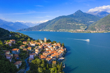 CLKFB112585 Aerial view of Rezzonico, Province of Como, Como Lake, Italy, Europe.